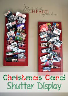 What a great way to quickly show off christmas cards as they come in! I need to find some old shutters!