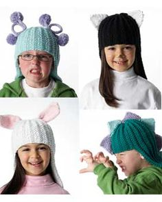 Costume hats free patterns - four variations: knit cat, knit dragon, knit bunny, and knit monster, via @Bernat