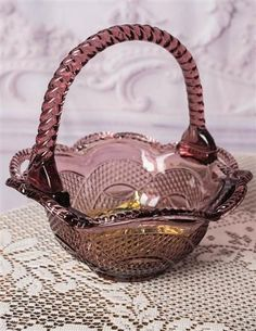 Pink Glass Basket Candy Dish from Victorian Trading Co. Victorian Trading Company, Dining Ware, Candy Dishes, Beautiful Kitchens, Cut Glass, Tea Pots, Amethyst, Basket, Pink