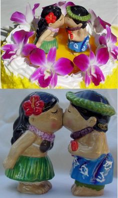If you are having a Hawaiian theme wedding or luau in our Island Gift Shop we offer decorations like this adorable Hawaiian Kissing Couple Cake Top/S&P ...