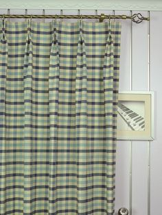 Extra Wide Hudson Small Check Double Pinch Pleat Curtains 100 - 120 Inch Curtain | Cheery Curtains: Ready Made and Custom Made Curtains For Less