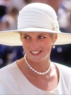 WHITE STUFF Diana wore all white on her 10th wedding anniversary in July 1991 in Lincolnshire, England