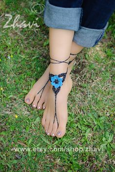 Crochet barefoot sandals Bridal foot jewelry Beach by ZHAVI