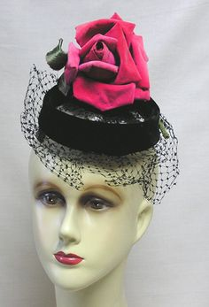 Vintage Miss Sally Victor Hat Marvel Blk Velvet Topper w Huge Rose | eBay