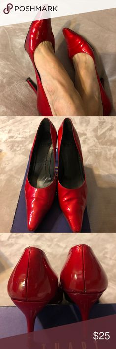 """Stuart Weitzman Red patent shoes It's so gorgeous and hard for me to let it go but can't no longer wear heels! Very sexy shoes signs of wear shown in the pictures but still looking great it's 3 1/4"""" heels Stuart Weitzman Shoes Heels"""