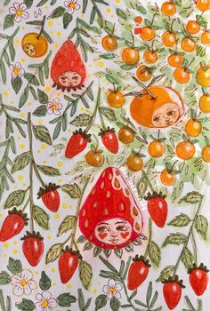 fruit people by - - Art Sketches, Art Drawings, Illustrations Vintage, Illustrations Posters, Buch Design, Arte Sketchbook, Photocollage, Alphonse Mucha, Hippie Art