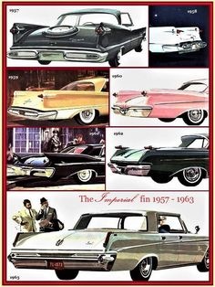 Imperials rear ends, 1957 to 1963 ~ USA 🇺🇸 Chrysler Usa, Chrysler Imperial, Retro Cars, Vintage Cars, Antique Cars, Truck Design, Vintage Advertisements, Custom Cars, Art Cars