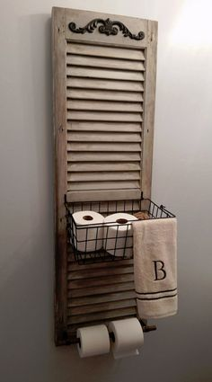 34 Ways Decorating with Old Shutters Can Make Your Home Charming Window Shutter Toilet Paper Holder Rustic Decor, Farmhouse Decor, Farmhouse Shutters, Rustic Shutters, Repurposed Shutters, Shabby Chic Decor, Small Shutters, Bedroom Shutters, Interior Shutters
