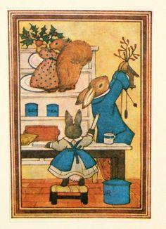 Christmas card. Made from a vintage illustration. Decorating The Woodland Cottage. Margaret Tempest...