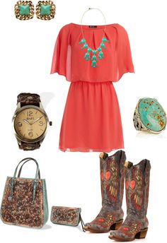 """turquoise and coral"" #countryoutfit #country #countryfashion #countrystyle For more Cute n' Country visit: www.cutencountry.com and www.facebook.com/cuteandcountry"