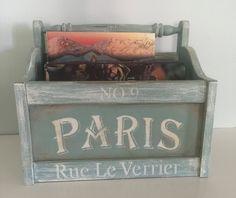 Vintage Shabby chic magazine rack, farmhouse chic, french flea market, up cycled magazine storage by VintageSowles on Etsy