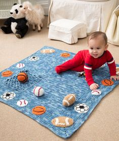 Young Athlete Blanket and Rattles Free Crochet Pattern from Red Heart Yarns. Definitely in a different color but I love the applique balls! Baby Boy Crochet Blanket, Crochet Baby Clothes, Baby Boy Blankets, Crochet Blanket Patterns, Baby Patterns, Baby Afghans, Knitting Patterns, Crochet Afghans, Crochet Blankets