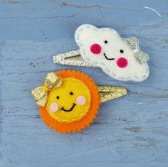 Items similar to Wool felt friends Sun and Cloud (Medium Size Snap Clip ) Set on Etsy Felt Diy, Handmade Felt, Felt Crafts, Felt Hair Clips, Baby Hair Clips, Headband Crafts, Headbands, Felt Hair Accessories, Crochet Baby Bibs