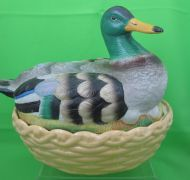 Antique Staffordshire Mallard Duck Tureen w/ Egg Holder Insert from Black-Eyed Susan's Antiques.
