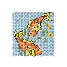 Chart Counted Cross Stitch Pattern Needlework Cat /& Gold fishes