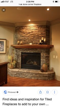 Stunning Traditional Fireplace Decor Ideas You Must Try This Winter – Farmhouse Fireplace Mantels Corner Stone Fireplace, Corner Electric Fireplace, Stacked Stone Fireplaces, Fireplace Cover, Rock Fireplaces, Rustic Fireplaces, Farmhouse Fireplace, Home Fireplace, Fireplace Remodel