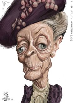 Maggie Smith caricature by Marzio Mariani (All Rights Reserved) #Celebrity #Caricatures #Oddonkey