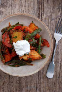 Sweet Potato, Green Bean and Smoked Paprika Salad by The Hungry Girls via DesignSponge blog
