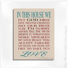 In This House We print . Family Rules Wall Art . Custom Family Rules . Personalized Family Rules . Family Sign . Christian Family Rules