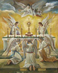 Angels and all of Heaven are present at every mass to worship Jesus in the Eucharist. But our unbelief does not allow us to see.