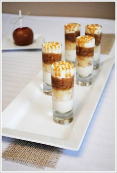 """Caramel Apple Cake Shooters - still waiting for an answer on the """"how do you serve"""" question.  Cream cheese icing, cake and apples - I think some kind of utinsil would be needed."""
