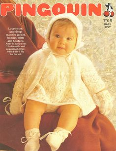 Pingouin 7916 baby dress and matinee coat vintage by Ellisadine, £1.15