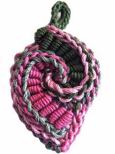 Prudence Mapstone - pink pendant... ... freeform crochet motifs