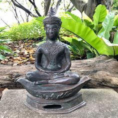 """Excited to share this item from my #etsy shop: 16.3"""" Buddhism Antique Thai Ayutthaya Bronze Buddha Statue Meditating On Boat"""