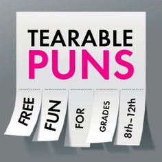 "Sometimes, you just need to have some nerdy English teacher fun. Make your students groan, roll their eyes, and maybe even smirk with this collection of 34 different puns presented on three separate ""Tearable Pun"" fliers. Post them in your room as a Friday treat or make a bunch of copies on colored paper and send your students around campus to commit Random Acts of Punning."