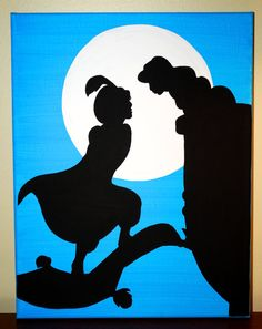 Aladdin and Jasmine Disney Silhouette on Stretched Canvas via Etsy. Perfect for a Disney princess theme nursery Disney Canvas Art, Disney Art, Disney Pixar, Disney Theme, Disney Characters, Disney Drawings, Art Drawings, Aladdin And Jasmine, Princess Jasmine