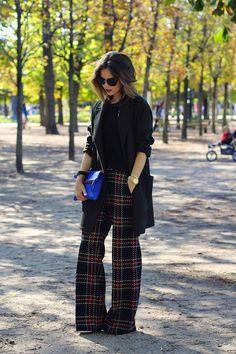 Plaid pants + Long coat