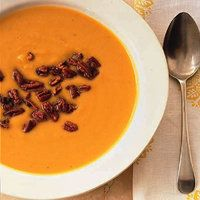 Butternut Squash Soup with Sweet and Spicy Pecans from @RachaeRayMag.com. My great friend Kate started with this when she cooked dinner to celebrate my becoming Editor in Chief at Every Day with Rachael Ray. It was delicious.