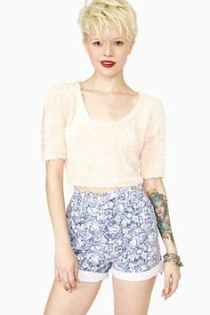 Soft Bloom Denim Shorts