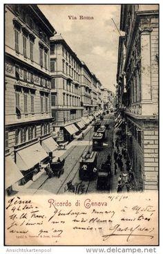 Ricordo di Genova anno 1900 Via Carlo Felice (oggi via Roma)