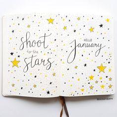 My January cover page  I decided to go with a stars theme for this month  _____________________________________________ #bulletjournal #bulletjournaling #bujo #bujoaddict #bujobeginner #bujoinspo #bujojunkies #bujobeauty #bujoinspire #bulletjournalshowcase #showmeyourbulletjournal #planner #showmeyourplanner #leuchtturm1917 #monthly #monthlyspread #monthlyplanner