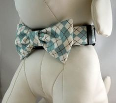 Diesel's new collar & bow tie combo: Dog Collar  Dog  Martingale Collar  by LearnedStitchworks, $14.00