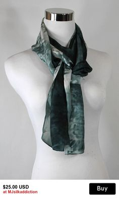 "Hand painted silk scarf 8""x72"" Shades of Gray ombre abstract, Gray and white abstract scarf, OOAK and ready to ship"