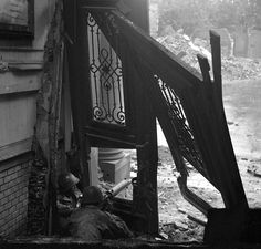 World War Two, Aachen, Germany, 18th October, 1944, American soldiers firing at Germans from a machine gun nest in shattered building during street fighting in Germany as the Allies invade (Photo by Popperfoto/Getty Images)