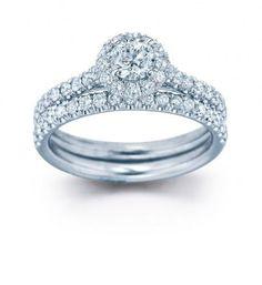 Halo Engagement Bridal Ring Band Set 1.01 Ct Real Diamond Jewelry 14K White Gold #DiamondForGood