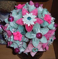 Paper Flower Bouquet and Boutonniere Set - 16 stems - Kusudama, Origami - Cherry Blossom - Aqua, Pink, White, Robins Egg Blue.