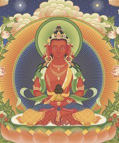 Amitayus Tibetan Buddhism, Buddhist Art, Amitabha Buddha, Vajrayana Buddhism, Thangka Painting, Sacred Art, Deities, Disney Characters, Fictional Characters
