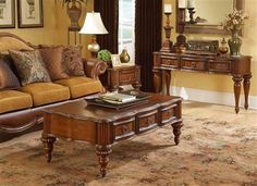 Prenzo Casual Warm Brown Wood Coffee Table Set