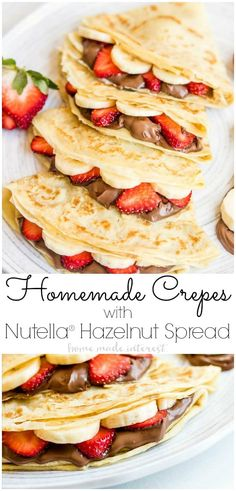 #ad Homemade Crepes with Nutella® Hazelnut Spread are an easy breakfast recipe or brunch recipe filled with sliced strawberries and bananas and creamy Nutella® Hazelnut Spread. This easy crepe recipe would make a great Valentine's Day breakfast or Mother's Day breakfast but it's not just for special occasions. Homemade Crepes with Nutella® Hazelnut Spread is also just a delicious way to start the day any day of the week! @NutellaUSA #nutella #breakfast #brunch #valentinesday