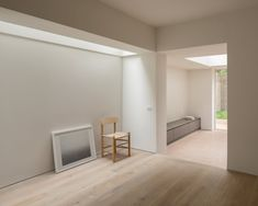Balcorne Street is a minimal house located in London, United Kingdom, designed by O'Sullivan Skoufoglou Architects. The ground under the outrigger of this house was lowered and extended to the side to create a new kitchen and dining area focused on the garden. The inclusion of skylights along the side aid the diffusion of natural light into the stepped middle room of the main house.