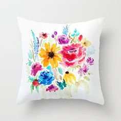 Why not throw a pillow instead of a bouquet? It could be a small sachet and filled with balsam or lavender. Or it could be larger and painted with fabric paints to resemble flowers in a bouquet? watercolor bouquet Throw Pillow