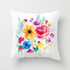 watercolor bouquet Throw Pillow