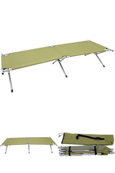 Outdoor Folding Camping Cot Green Garden Sun Lounger Chaise Lounge Guest Bed  #OutdoorFoldingCampingCot