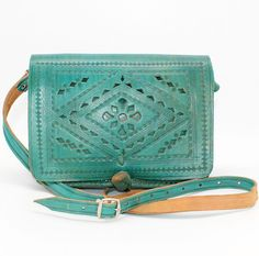 Blue Tooled leather bagBlue Leather crossbody bag Turquoise