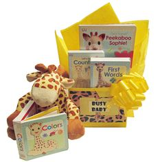 Busy Baby Gift Box $79.95 featuring Sophie the Giraffe.  Free ground shipping with this themed baby gift basket.