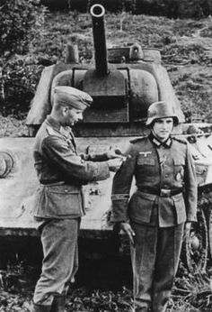 German soldier being given promotion